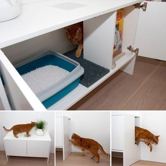 Как спрятать лоток для кошки