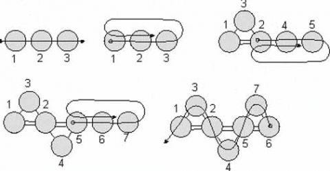 """""""Змейка """" самый простой в плетении узор: 1. Набираем три бисерины и проходим во вторую и первую."""
