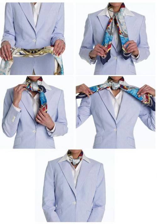 Квадратный узел.  Выбирая материал платка или шарфа, думайте о его.