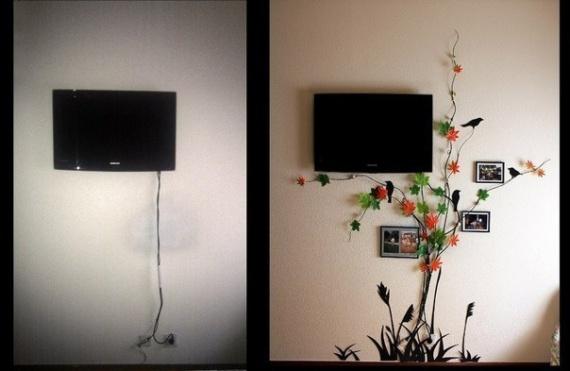 Креативное оформление провода от телевизора